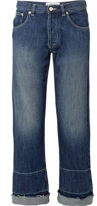 Loewe Embroidered Mid-rise Wide-leg Jeans - Dark denim