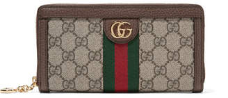 Gucci Ophidia Textured Leather-trimmed Printed Coated-canvas Continental Wallet - Beige