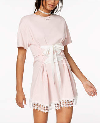Macy's The Edit By Seventeen Juniors' Lace-Trim Corset T-Shirt Dress, Created for