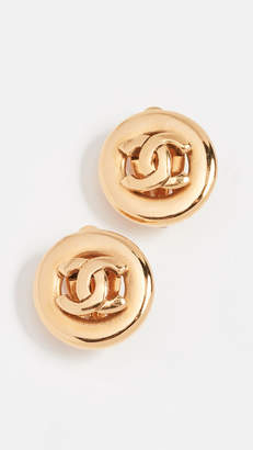 Chanel What Goes Around Comes Around CC Round Earrings