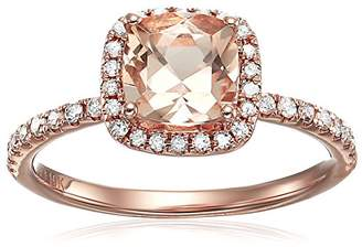 10k Rose Gold Morganite and Diamond Cushion Halo Engagement Ring (1/4cttw