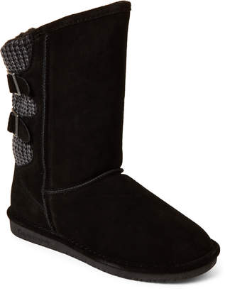 BearPaw Black Boshie Real Fur & Suede Boots