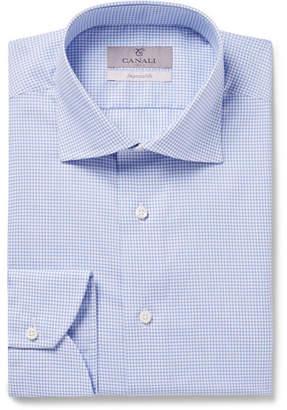 Canali Light-Blue Slim-Fit Cutaway-Collar Checked Cotton Shirt