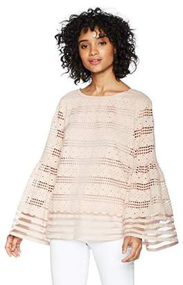Max Studio Women's Solid Lace Bell Sleeve Top