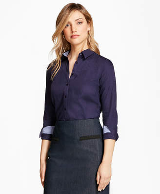 Brooks Brothers Petite Tailored-Fit Patchwork Jacquard Shirt