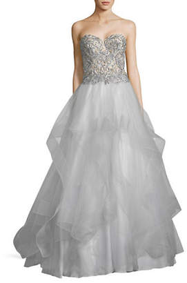 GLAMOUR BY TERANI Strapless Beaded Ball Gown
