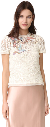 RED Valentino Embroidered Birds Tee $875 thestylecure.com