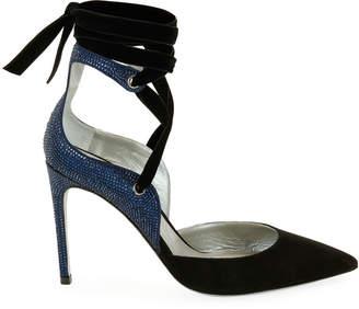 Rene Caovilla Two-Tone Crystal-Back Ankle-Wrap Pumps, Black/Blue