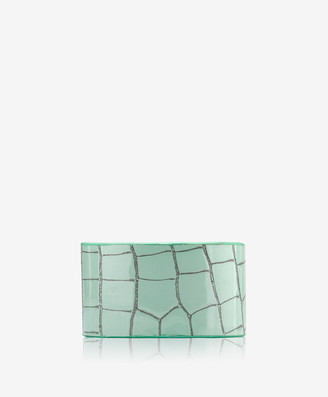 GiGi New York Large Cuff Bracelet, Mint Crocodile Embossed Leather