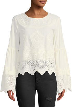 Lumie Embroidered Bell-Sleeve Blouse