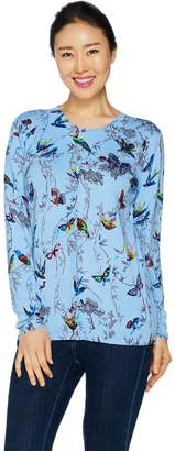Factory Quacker Butterfly and Bird Print Button Front Cardigan