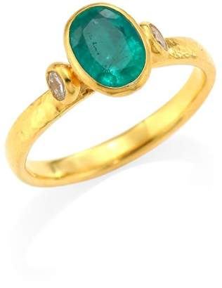 Gurhan 22K & 24K Yellow Gold, Emerald & Diamond Ring