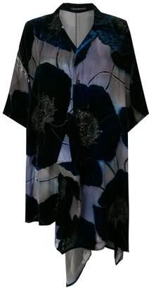 Yohji Yamamoto floral appliqués asymmetric shirt dress