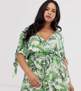 Influence Plus wrap front romper in tropical print