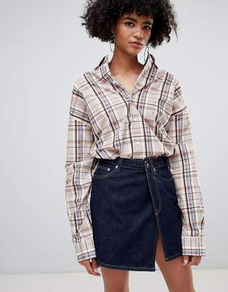 Weekday Limited Collection Wrap Denim Mini Skirt