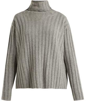 Summa - Ribbed Roll Neck Cashmere Sweater - Womens - Grey