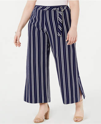 NY Collection Plus Size Striped Belted Gaucho Pants