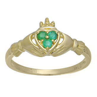 FINE JEWELRY Heart-Shaped Genuine Emerald 10K Yellow Gold Claddagh Ring