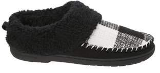 Dearfoams Women's Moc Toe Clog with Plaid Slippers