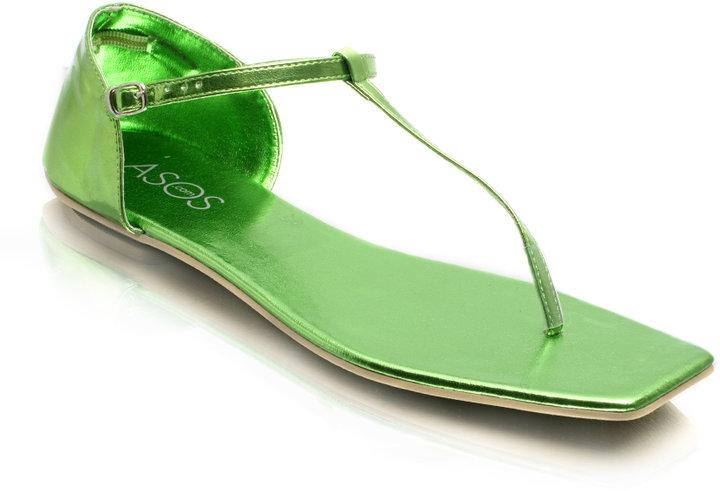 ASOS Tbar Metallic Flat Sandal