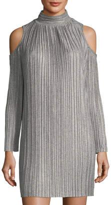 Maggy London Cold-Shoulder Plisse Trapeze Dress