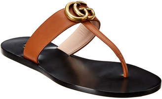 Gucci Double G Leather Flat Sandal