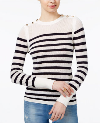 Tommy Hilfiger Button-Shoulder Striped Sweater, Only at Macy's $69.50 thestylecure.com