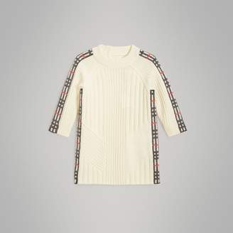 Burberry Check Detail Wool Cashmere Dress , Size: 18M, White