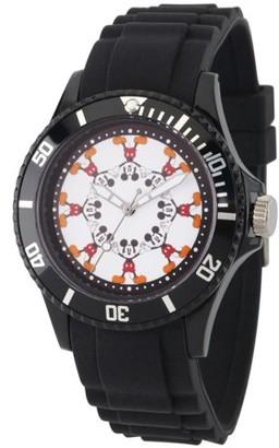Disney Mickey Mouse Men's Black Plastic Watch, Black Bezel, Black Plastic Strap