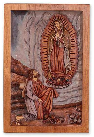 Christianity Wall Panel of Lady of Guadalupe and Juan Diego, 'Lady of Guadalupe'