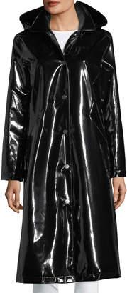 Jane Post Hooded Snap-Front Long Rain Slicker Coat