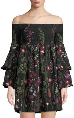 Red Carter Off-The-Shoulder Floral-Embroidered Mini Dress