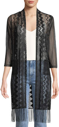 Neiman Marcus 3/4-Sleeve Semi-Sheer Duster Cardigan
