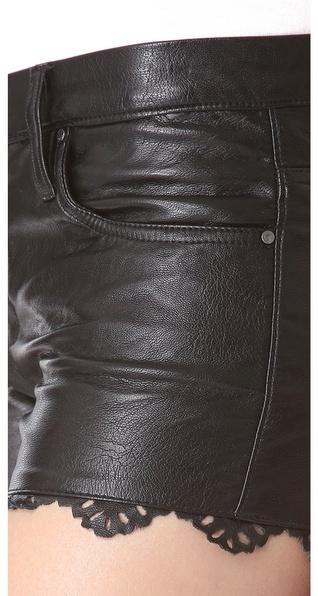 Blank Laser Hem Faux Leather Shorts