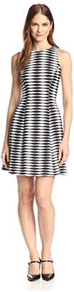 Donna Morgan Women's Striped Fit-and-Flare Dress