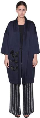 Marina Rinaldi Beads And Sequins Kimono Coat