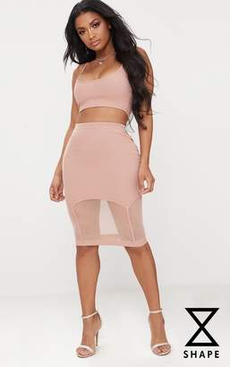 PrettyLittleThing Shape Mocha Ribbed Bandage Mesh Insert Midi Skirt