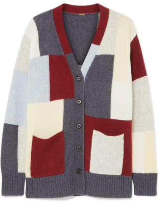 ADAM by Adam Lippes Patchwork Brushed Cashmere And Silk-blend Cardigan - Blue