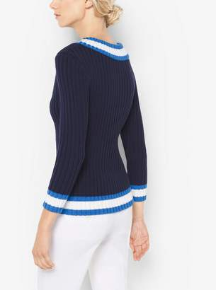 Michael Kors Stretch Silk and Cotton Ribbed V-Neck Sweater