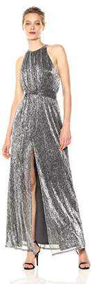 Halston Women's Sleeveless High Neck Texture Metallic Gown with Strap Detail