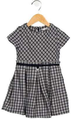 Mayoral Girls' Plaid Cap Sleeve Dress grey Girls' Plaid Cap Sleeve Dress
