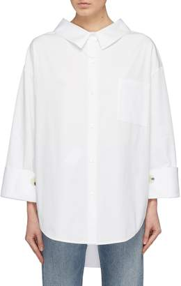 PORTSPURE Tie keyhole back wide sleeve oversized shirt