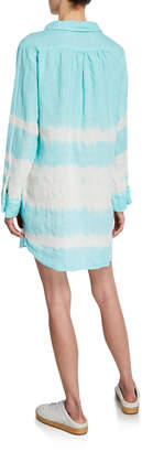 Allen Allen Tie-Dye Button Long-Sleeve Shirtdress
