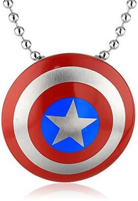Marvel Comics Unisex Captain America Stainless Steel Chain Pendant Necklace