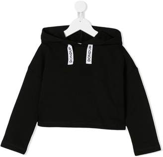 Dondup Kids logo drawstring cropped hoodie