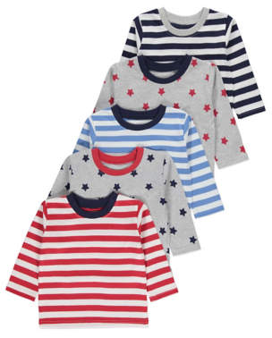 George Stars and Stripes Long Sleeve Tops 5 Pack