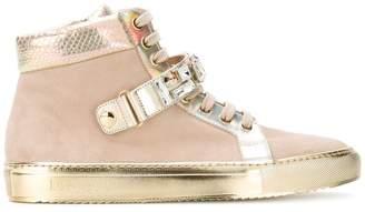 Loriblu gold panel lace-up sneakers