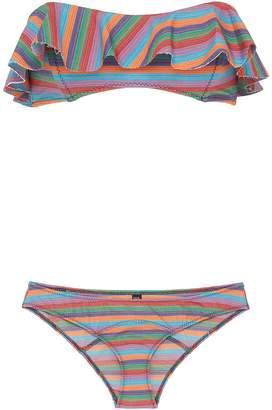 Lisa Marie Fernandez 'Natalie' flounce stripe print bikini set
