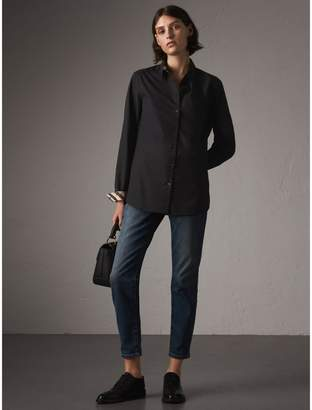 Burberry Check Detail Stretch-cotton Shirt