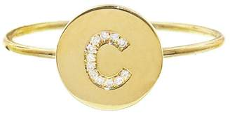 Jennifer Meyer Diamond Mini Disc Initial Ring